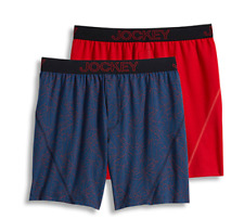 Men Jockey 2-Pack Boxers Briefs (Red- Navy) No Bunch Stretch Comfort Underwear