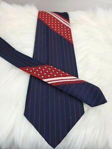 Givenchy Gentlemen Paris Bachrach's Tie Stripe Polka Dot Color Block Blue Red