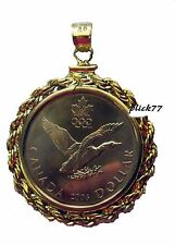 Canadian Loonie coin Pendant mounted in 14k Gold Filled Rope Bezel 26.5 X2.0 mm