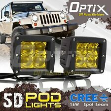 2x 16W CREE 5D LED Yellow Pod Lights Universal Mount Driving Work Fog Light Cube
