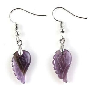 Natural Healing Crystal Quartz Gemstone Angel Wing Chakra Point Women Earrings