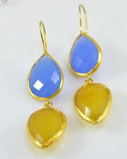 Ottomangems Semi-Preciosas Piedras Preciosas pendientes oro plateado Calcedonia hecho a mano