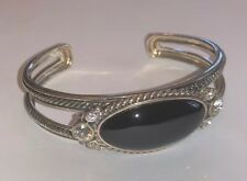 Gorgeous BARSE STERLING SILVER Ladies ONYX & Crystals CUFF Bangle BRACELET