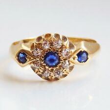 Stunning Antique Edwardian 18ct Gold Sapphire & Diamond Cluster Ring c1908