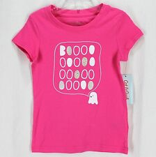 Cat & Jack Knit Top Tee Shirt Sz S 6/6x Pink Short Sleeve Boo Ghost Halloween