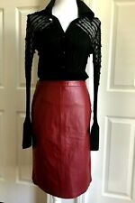 JESSICA LONDON Women Red Leather Spandex Skirt Size 28 NWT