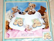 2 Stamped Cross Stitch Teddy Bears Bibs Embroidery Kit From Dimensions