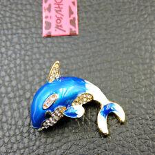 Blue Enamel Cute Ocean Whale Crystal Betsey Johnson Charm Brooch Pin Gift