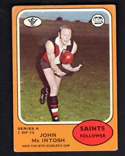 1973A  SCANLENS CARD  # 1 JOHN Mc INTOSH - SAINTS