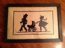 Vintage Cross Stitch / Needlepoint Silhouette Strolling Baby Carriage Picture