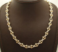 "18"" Technibond Bar Station Oval Link Necklace 14K Yellow White Gold Clad Silver"