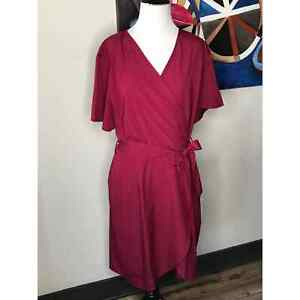 Shein Womens Dress Wrap Fit Flare Maroon Red V Neck 1x