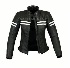 Ladies Genuine Black Leather Jacket Motorcycle Motorbike Women Riding CE Armour