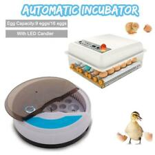 9/16 Eggs LED Automatic Incubator Hatcher Temperature Control Poultry Hatching