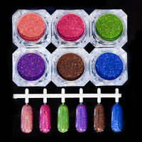 1g/box Holo Schimmer Farbig Nagel Glitter Pulver Strand Nail Art Dekoration
