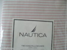 ~RARE~RETIRED PATTERN~NAUTICA 2 KING Size YD CAMBRIDGE OXFORD STRIPE PILLOWCASES