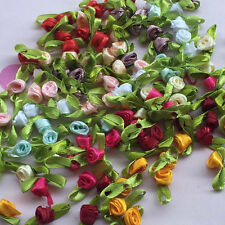 40pcs Satin Ribbon Flowers rose w/leaves Appliques Crafts scrapbooking #409