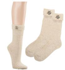 Trachten-Socken Damen zum Dirndl Lederhose 35/38 Edelweiß Pin abnehmbar Beige