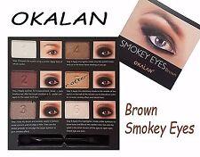 OKALAN SMOKEY EYES Brown with Brush- Brown Smokey Eye Shadow Palette! NEW