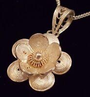 Sterling filigree silver vintage Art Deco antique flower design pendant necklace
