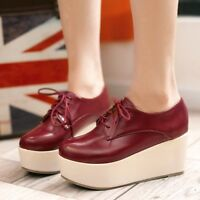 Womens Thick Platform Wedge Creeper Shoes Punk Lace UP Shoes Oxfords Leisure T11