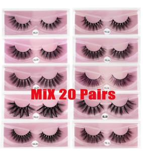 Wholesale 20 pairs mink Eyelashes 3D Mink Lashes Natural Soft Bulk false lashes