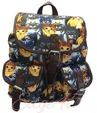 Ladies Cat Print Dog Print Pug Terrier Backpack Rucksack School Travel Bag