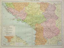 1934 LARGE MAP ~ SOUTH YUGOSLAVIA & ALBANIA