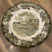 "Staffordshire Ridgway Heritage Scenes of Canada Fish Market Toronto Plate 9.75"""