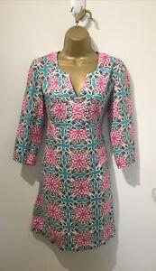 Size 8 Boden Linen Tile Print Tunic Dress , Boho