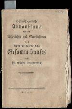 Bayern  Churpfalz  Regensburg  Historisch-juridische Abhandlung  1792
