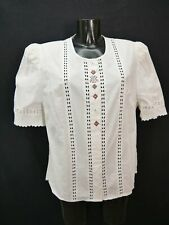Gr.48 Trachtenbluse weiß Bluse Meico Baumwolle mit Stickerei und Spitze TB6934