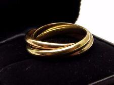 Vtg Tiffany & Co 18K Gold Rolling Ring Sz 8 Triple Band Tri Color White Rose