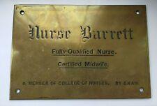 Early 20th Century - Nurse Barrett Nurse & Midwife Brass Door / Wall Plaque