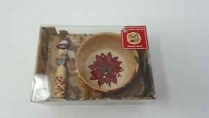 Tabletop Lifestyles Holly Jolly Pattern 2 piece dip set poinsettia Christmas