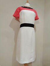 FENN WRIGHT MANSON PURE FLAX LINEN KALYN WHITE PINK  DRESS SZ UK 16  NWT NEW