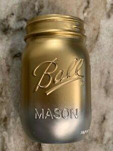 SALE! NEW!!!  12 Gold & Silver Mason Jars - Standard Mouth Pints