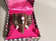 Betsey Johnson Brass Tone Elephant  Hinged Bangle Bracelet $35 in Box BN2