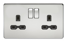 13A 2G DP Screwless Polished Chrome 230V UK 3 Pin Switched Electric Wall Socket