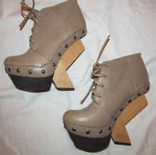 UN UNITED NUDE ABSTRACT LASSO wooden geometruc heel taupe lace up ankle boots 38