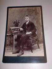 Antique Photo Cabinet Card HANDSOME YOUNG MAN TEEN Suit Chair Unmarked