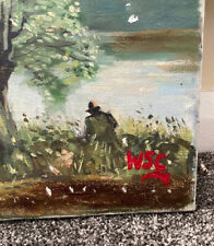 Winston Churchill Original Vintage Landscape Oil painting hand signed Not print!