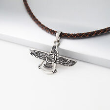 Silver Black Eagle Pendant 3mm 45cm Brown Braided Leather Cord Tribal Necklace
