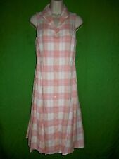 Brooks Brothers Country Club shirt dress size 6 linen pink plaid button up