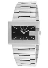 Gucci Women's 100G Stainless Steel Black Dial Indices Bracelet Watch NEW $1200