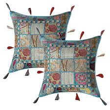 Indian Cotton Bohemian Cowrie 43 x 43 cm Embroidered Patchwork Pillow Covers