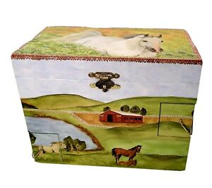 Horse Music Jewelry Box Twirling White Horse Plays My Old Kentucky Home