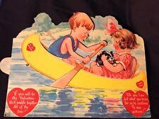 Large Mechanical Vintage Valentine, Boy Taking  A Girl On A Paddle Boat Ride