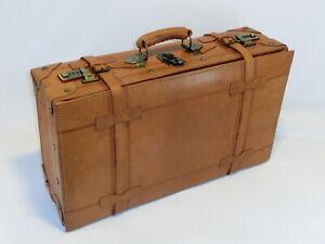 Vintage Natur Leder Koffer Oldtimer Lederkoffer Reisekoffer
