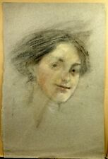 William LAPARRA (1873-1920) Grand Dessin Original Portrait Jeune Femme Cachet